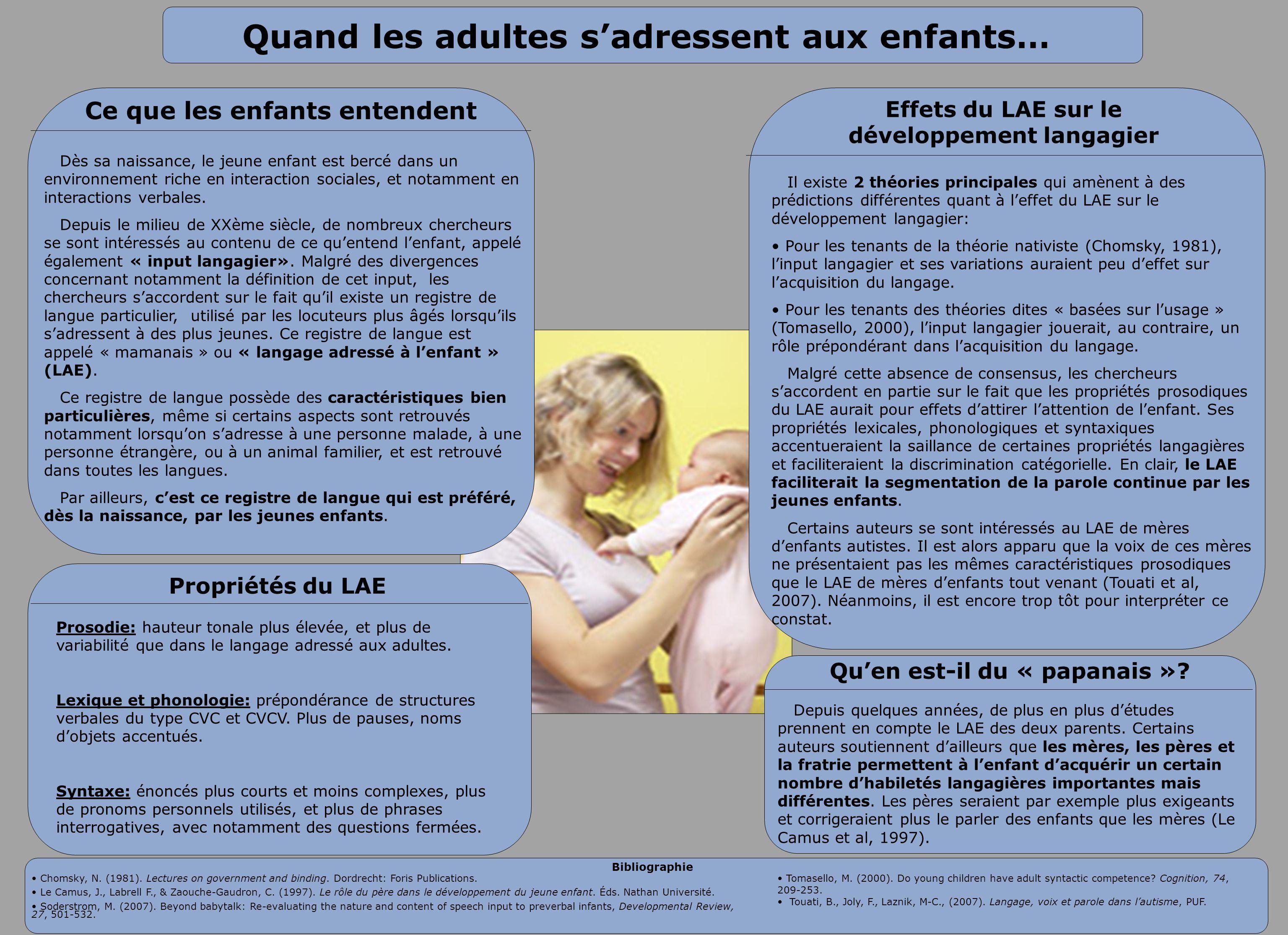 Quand les adultes sadressent aux enfants… Dès sa naissance, le jeune enfant est bercé dans un environnement riche en interaction sociales, et notammen