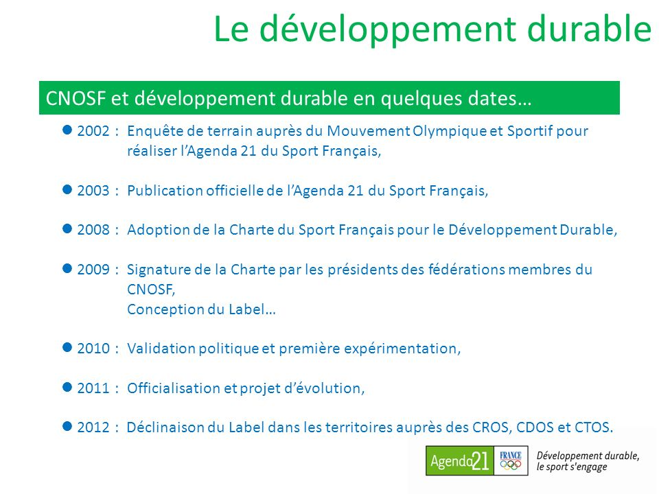 Présentation du Label « Développement durable, le sport sengage® »