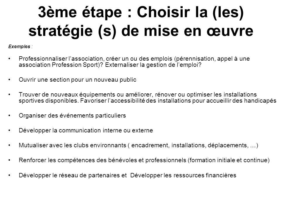 3ème étape : Choisir la (les) stratégie (s) de mise en œuvre Exemples : Professionnaliser lassociation, créer un ou des emplois (pérennisation, appel à une association Profession Sport).