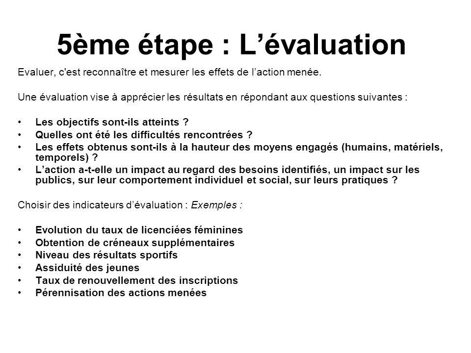 5ème étape : Lévaluation Evaluer, c'est reconnaître et mesurer les effets de laction menée. Une évaluation vise à apprécier les résultats en répondant