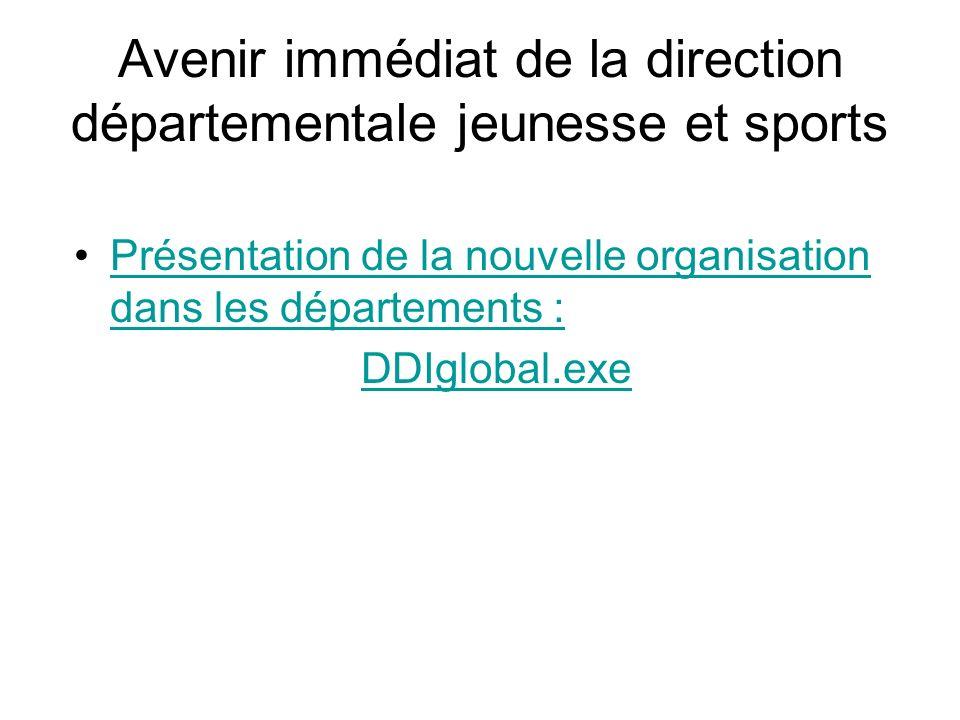 Avenir immédiat de la direction départementale jeunesse et sports Présentation de la nouvelle organisation dans les départements :Présentation de la n