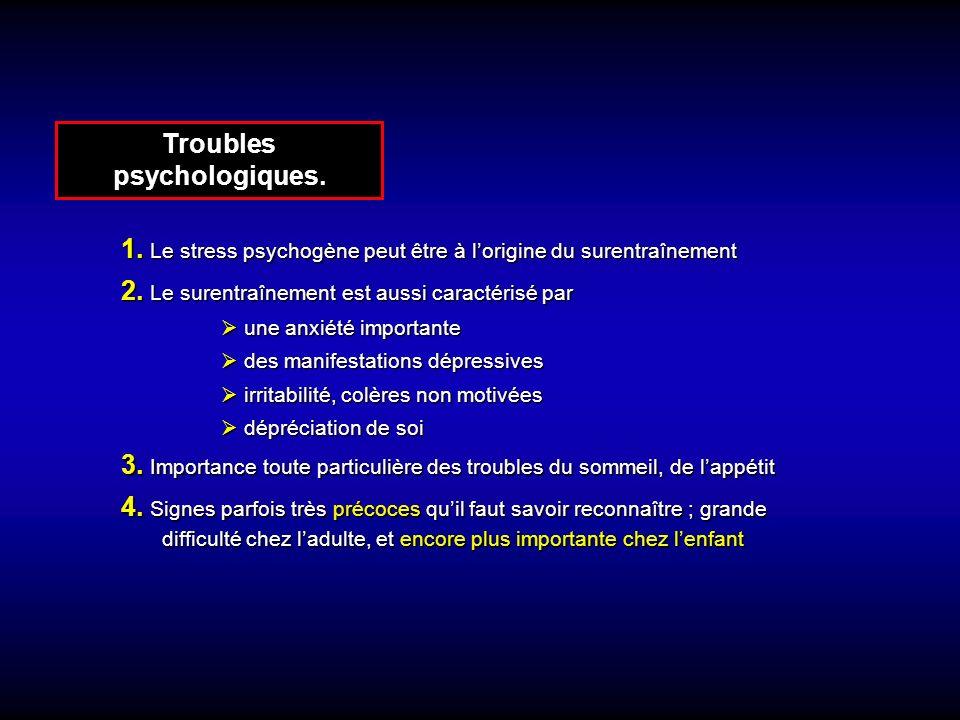 Troubles psychologiques.1. Le stress psychogène peut être à lorigine du surentraînement 2.