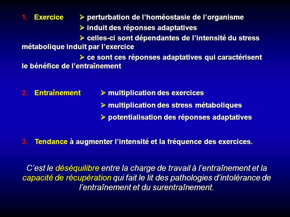 1.Exercice perturbation de lhoméostasie de lorganisme induit des réponses adaptatives induit des réponses adaptatives celles-ci sont dépendantes de lintensité du stress métabolique induit par lexercice celles-ci sont dépendantes de lintensité du stress métabolique induit par lexercice ce sont ces réponses adaptatives qui caractérisent le bénéfice de lentraînement ce sont ces réponses adaptatives qui caractérisent le bénéfice de lentraînement 2.