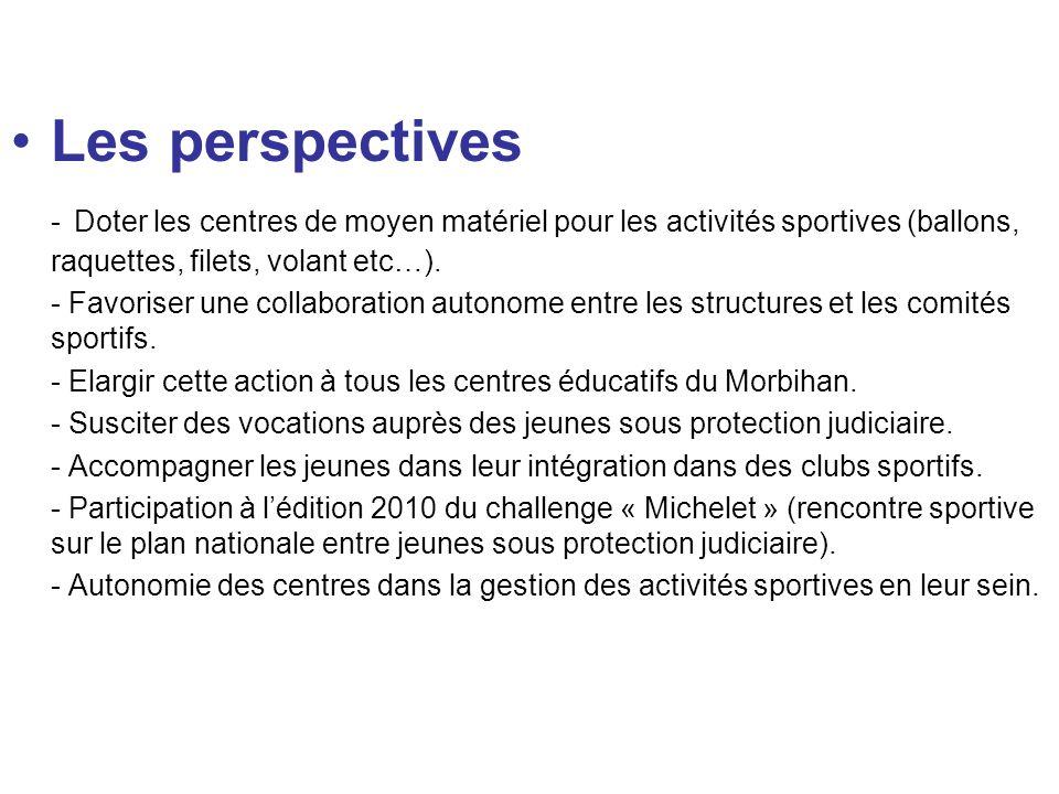 Les perspectives - Doter les centres de moyen matériel pour les activités sportives (ballons, raquettes, filets, volant etc…).