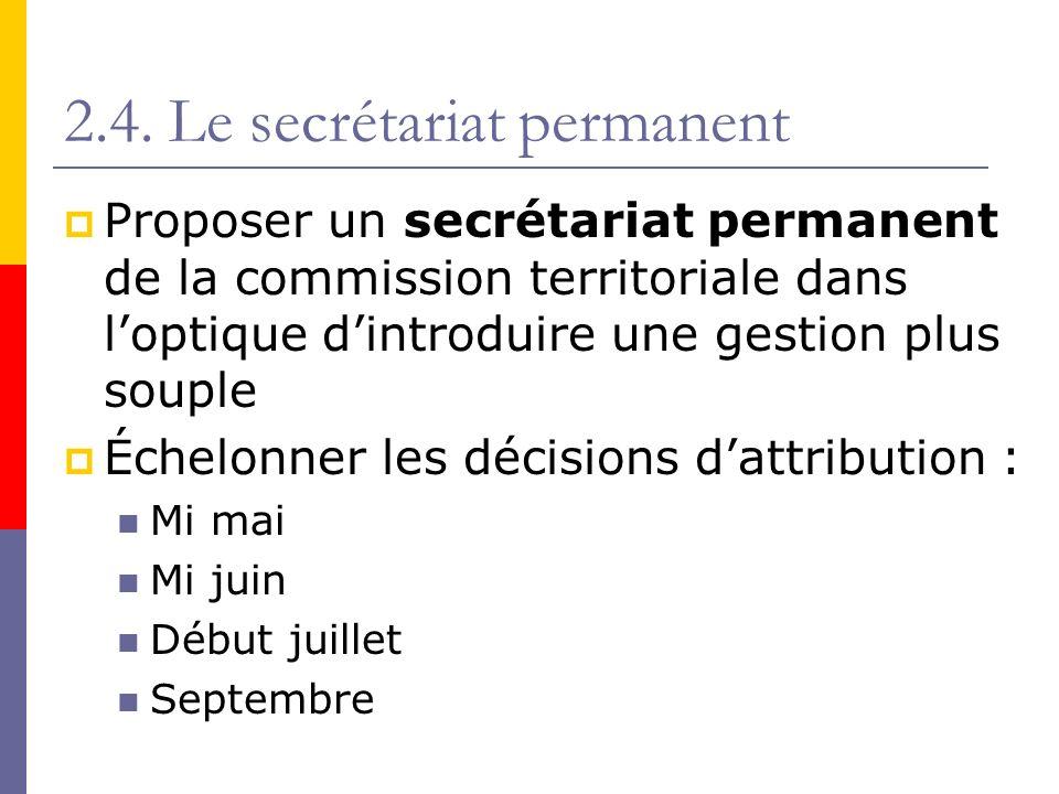 2.4. Le secrétariat permanent Proposer un secrétariat permanent de la commission territoriale dans loptique dintroduire une gestion plus souple Échelo