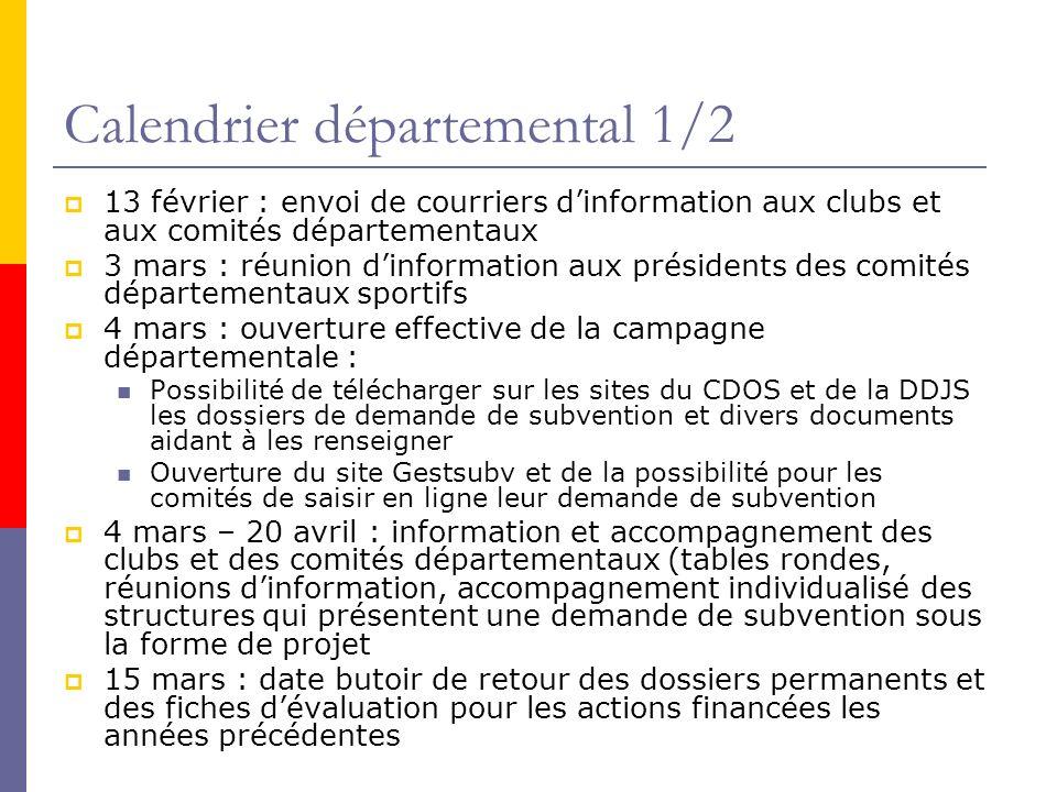 Calendrier départemental 1/2 13 février : envoi de courriers dinformation aux clubs et aux comités départementaux 3 mars : réunion dinformation aux pr