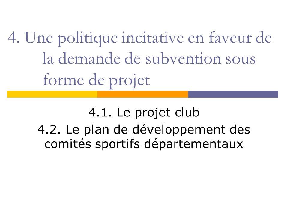 4. Une politique incitative en faveur de la demande de subvention sous forme de projet 4.1. Le projet club 4.2. Le plan de développement des comités s