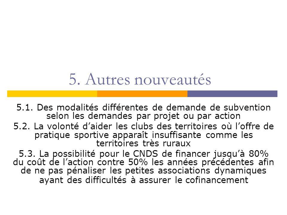5. Autres nouveautés 5.1. Des modalités différentes de demande de subvention selon les demandes par projet ou par action 5.2. La volonté daider les cl
