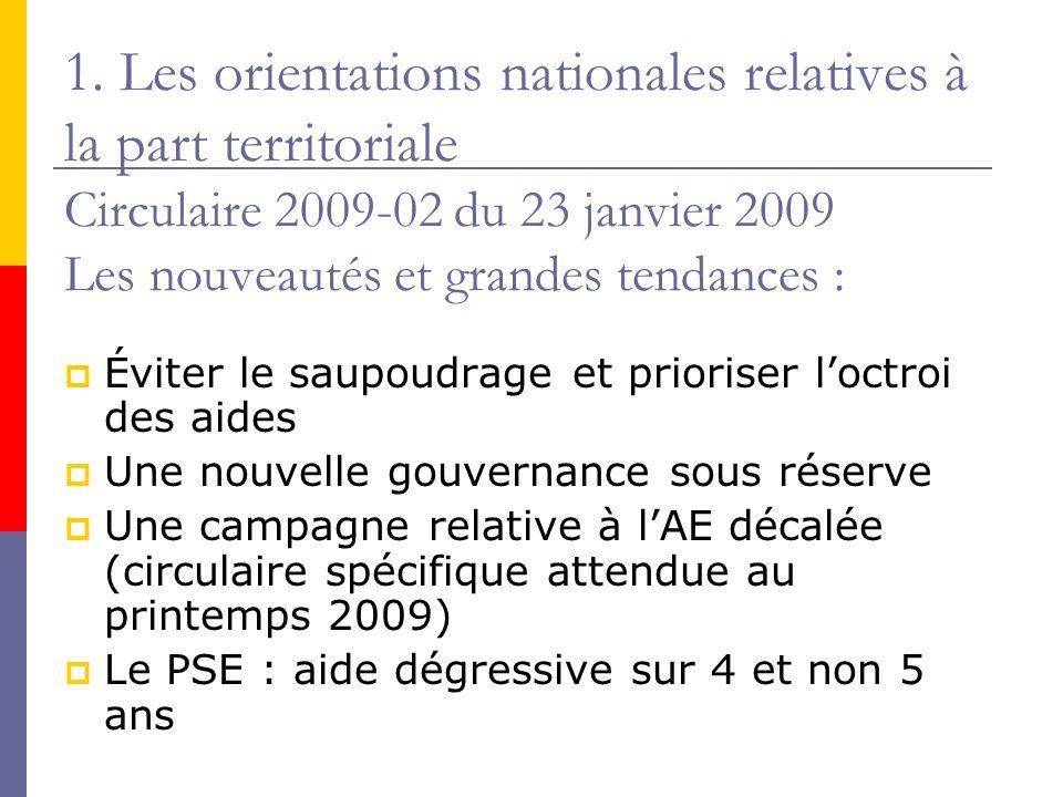 1. Les orientations nationales relatives à la part territoriale Circulaire 2009-02 du 23 janvier 2009 Les nouveautés et grandes tendances : Éviter le