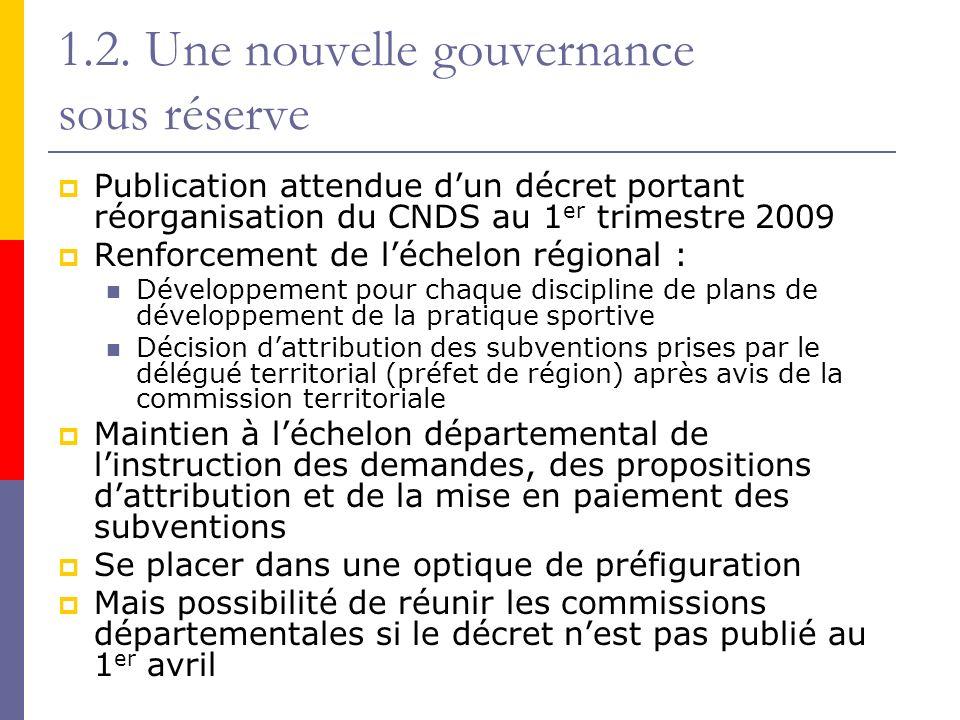 1.2. Une nouvelle gouvernance sous réserve Publication attendue dun décret portant réorganisation du CNDS au 1 er trimestre 2009 Renforcement de léche