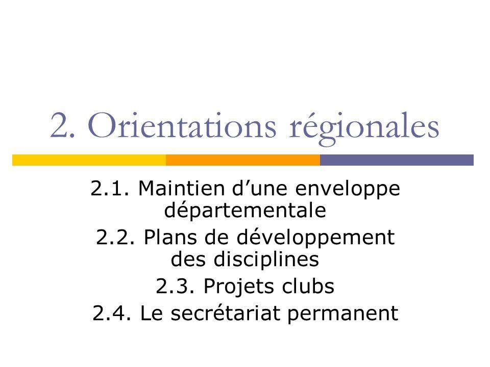 2. Orientations régionales 2.1. Maintien dune enveloppe départementale 2.2. Plans de développement des disciplines 2.3. Projets clubs 2.4. Le secrétar