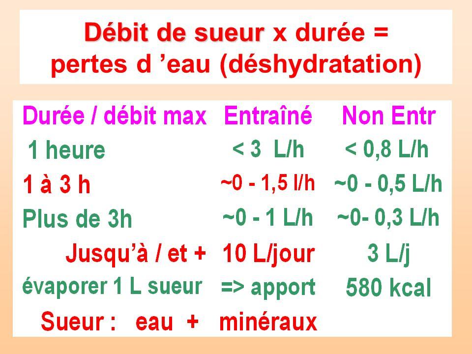 Débit de sueur Débit de sueur x durée = pertes d eau (déshydratation)