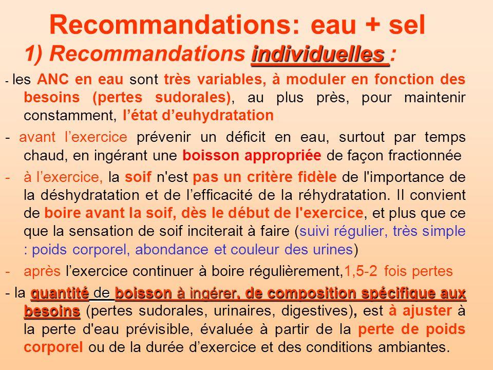 Recommandations: eau + sel individuelles 1) Recommandations individuelles : - les ANC en eau sont très variables, à moduler en fonction des besoins (p