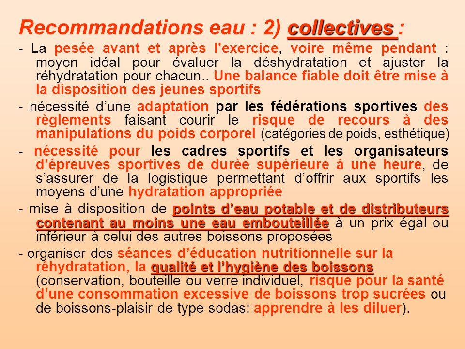 collectives Recommandations eau : 2) collectives : - La pesée avant et après l'exercice, voire même pendant : moyen idéal pour évaluer la déshydratati