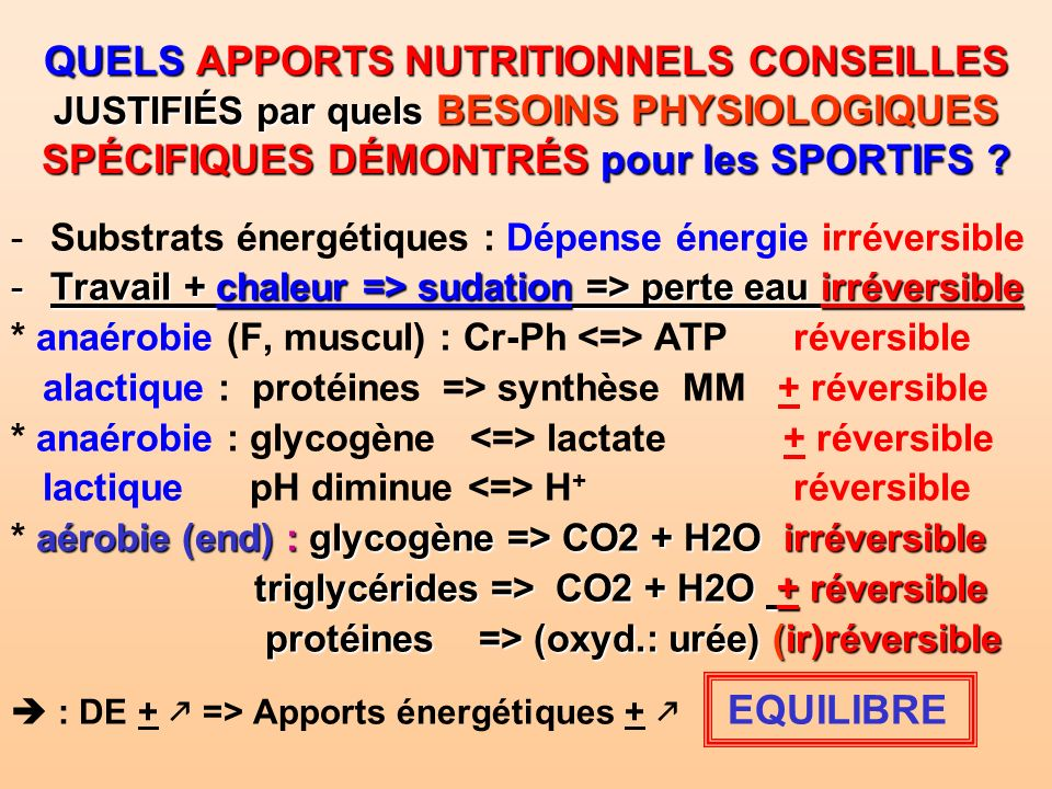 Une classification des sports : besoins nutr.