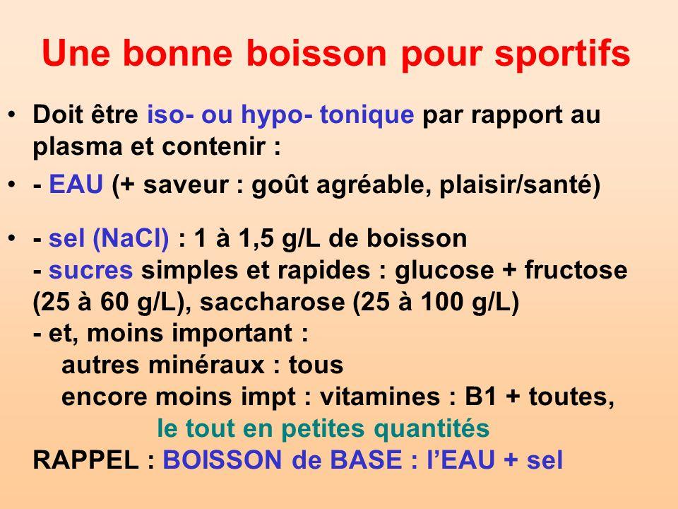 Une bonne boisson pour sportifs Doit être iso- ou hypo- tonique par rapport au plasma et contenir : - EAU (+ saveur : goût agréable, plaisir/santé) -