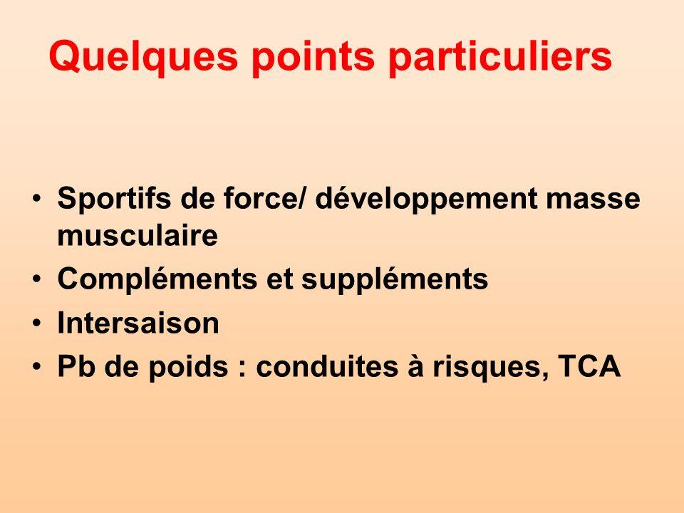 Quelques points particuliers Sportifs de force/ développement masse musculaire Compléments et suppléments Intersaison Pb de poids : conduites à risque