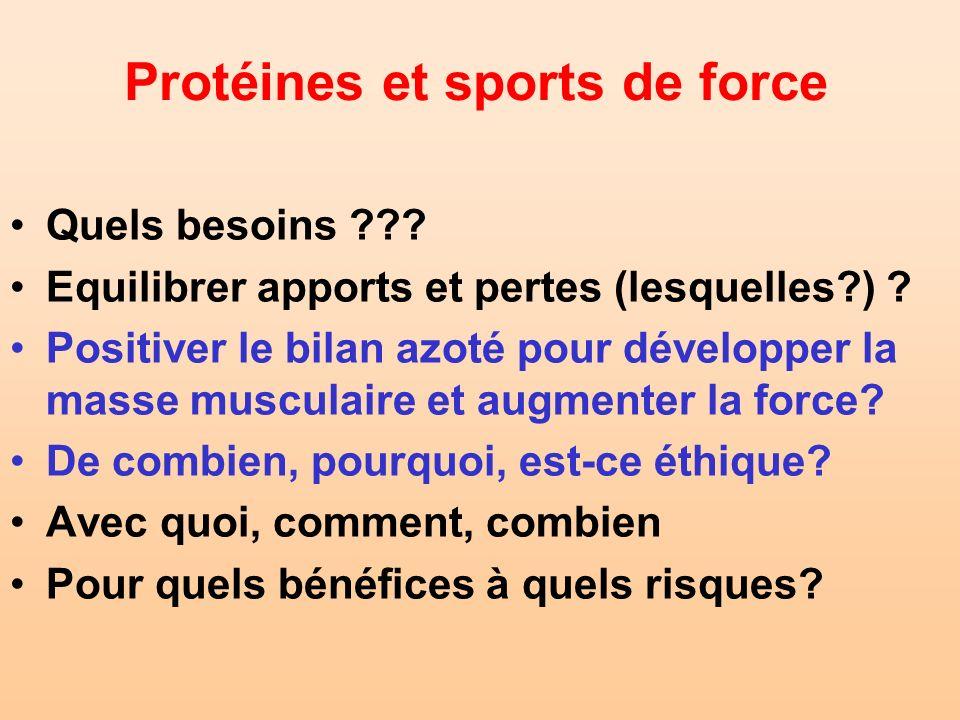Protéines et sports de force Quels besoins ??? Equilibrer apports et pertes (lesquelles?) ? Positiver le bilan azoté pour développer la masse musculai