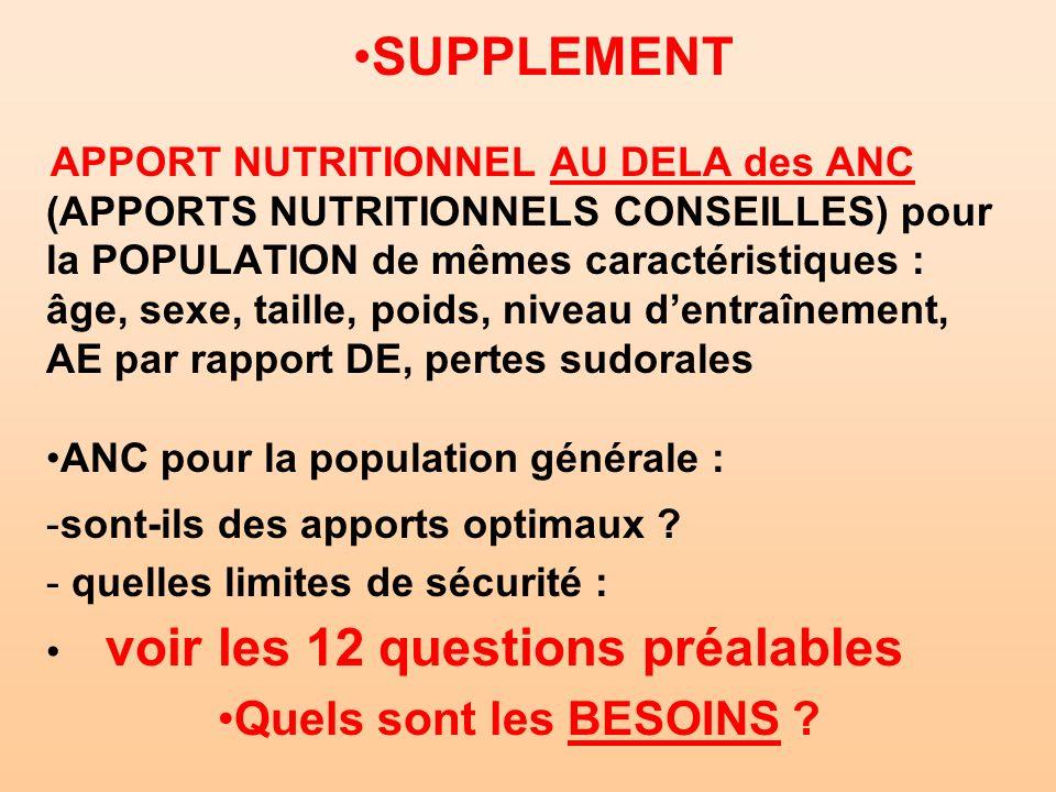 SUPPLEMENT APPORT NUTRITIONNEL AU DELA des ANC (APPORTS NUTRITIONNELS CONSEILLES) pour la POPULATION de mêmes caractéristiques : âge, sexe, taille, po