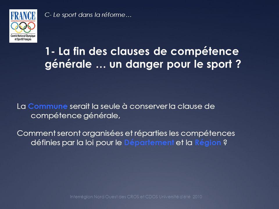 Interrégion Nord Ouest des CROS et CDOS Université d été 2010 …ce que disait le projet de loi en juin 2010 avant la 2 ème lecture du Sénat… C- Le sport dans la réforme… Art 35 : (…) Les compétences attribuées par la loi aux collectivités territoriales le sont à titre exclusif.