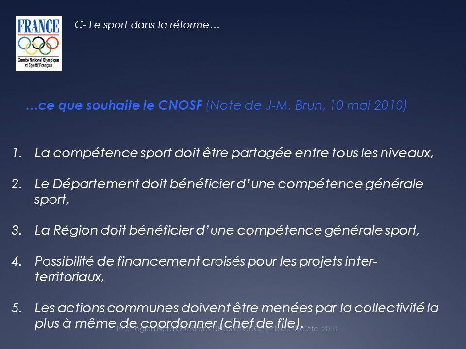 Interrégion Nord Ouest des CROS et CDOS Université d été 2010 …ce que souhaite le CNOSF (Note de J-M.