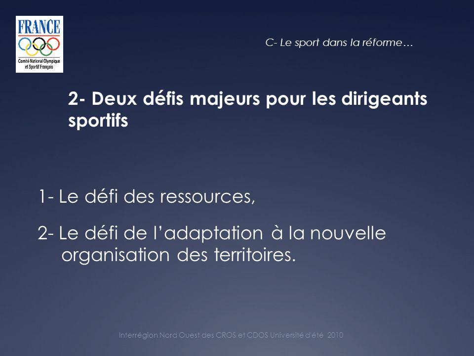 Interrégion Nord Ouest des CROS et CDOS Université d été 2010 2- Deux défis majeurs pour les dirigeants sportifs 1- Le défi des ressources, 2- Le défi de ladaptation à la nouvelle organisation des territoires.