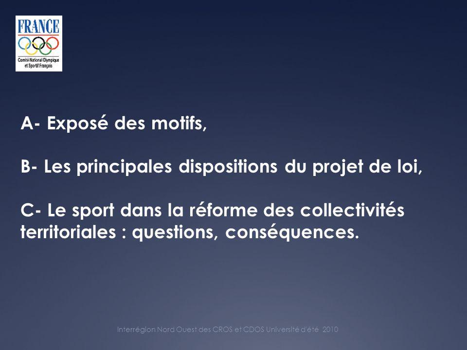 A- Exposé des motifs, B- Les principales dispositions du projet de loi, C- Le sport dans la réforme des collectivités territoriales : questions, conséquences.