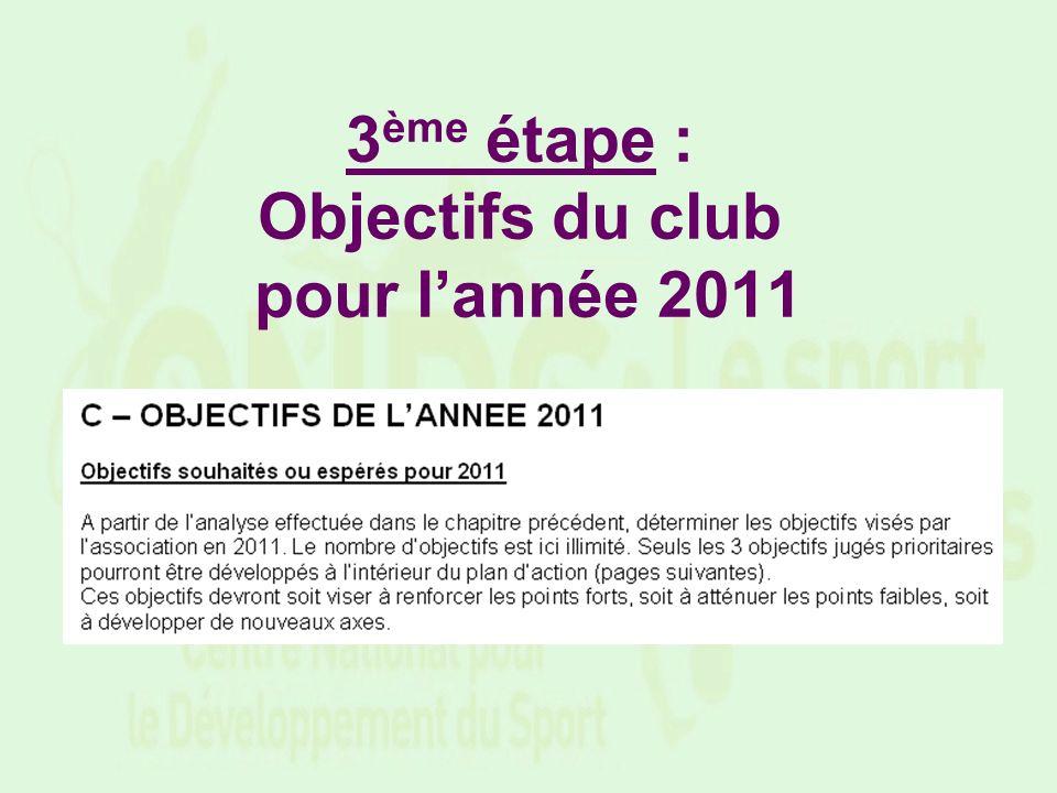 3 ème étape : Objectifs du club pour lannée 2011