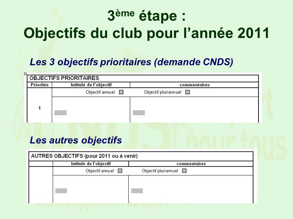 3 ème étape : Objectifs du club pour lannée 2011 Les 3 objectifs prioritaires (demande CNDS) Les autres objectifs