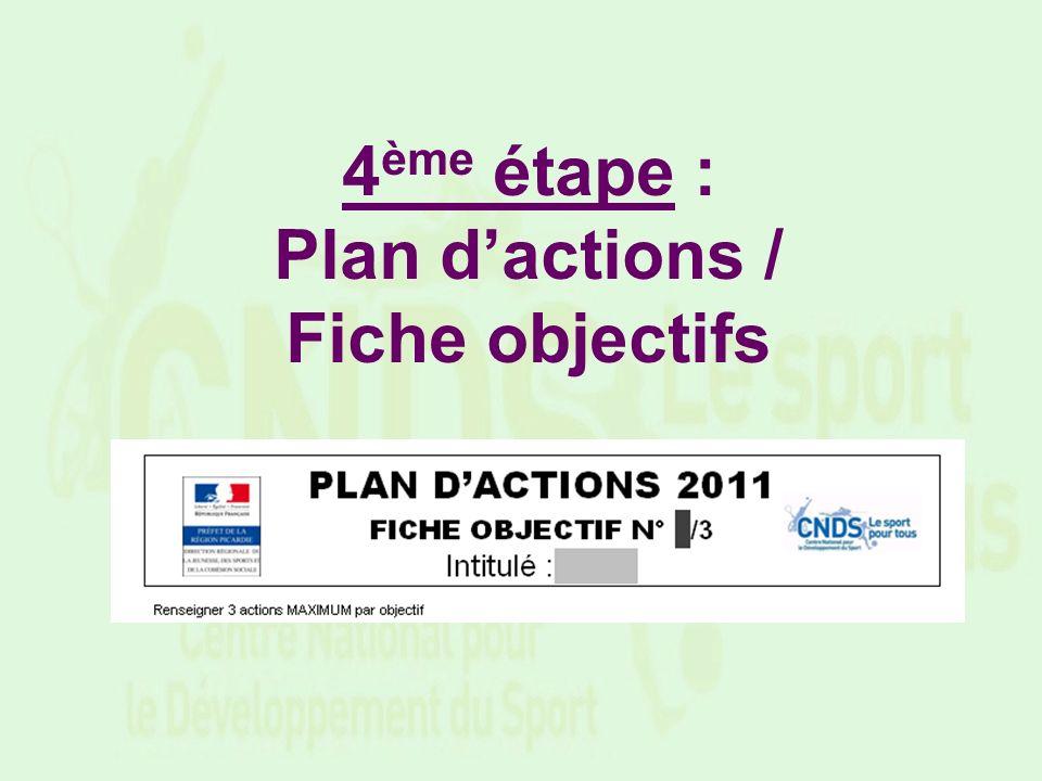 4 ème étape : Plan dactions / Fiche objectifs
