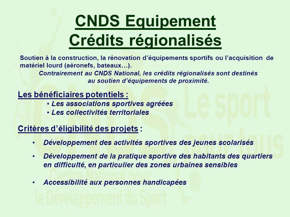 CNDS Equipement Crédits régionalisés Soutien à la construction, la rénovation déquipements sportifs ou lacquisition de matériel lourd (aéronefs, batea