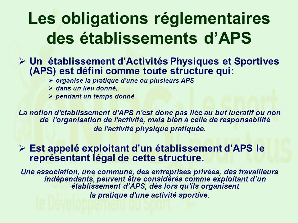 Un établissement dActivités Physiques et Sportives (APS) est défini comme toute structure qui: organise la pratique d'une ou plusieurs APS dans un lie