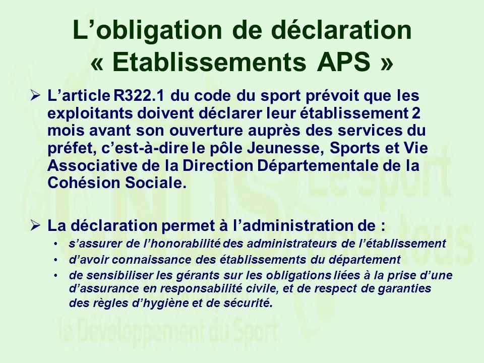 Lobligation de déclaration « Etablissements APS » Larticle R322.1 du code du sport prévoit que les exploitants doivent déclarer leur établissement 2 m