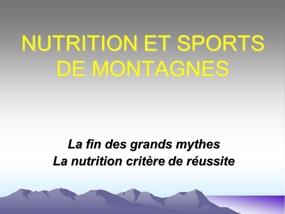 NUTRITION ET SPORTS DE MONTAGNES La fin des grands mythes La nutrition critère de réussite