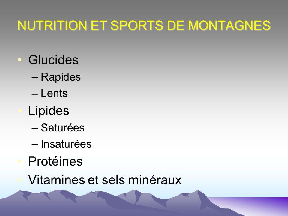 NUTRITION ET SPORTS DE MONTAGNES Glucides –Rapides –Lents Lipides –Saturées –Insaturées Protéines Vitamines et sels minéraux