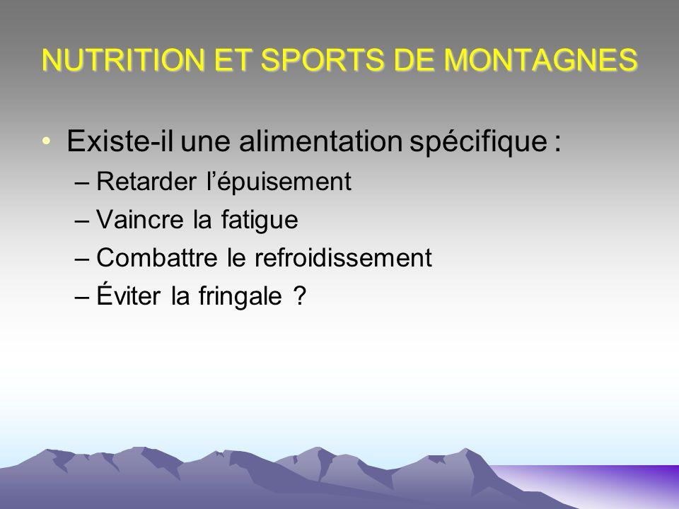 NUTRITION ET SPORTS DE MONTAGNES Existe-il une alimentation spécifique : –Retarder lépuisement –Vaincre la fatigue –Combattre le refroidissement –Évit