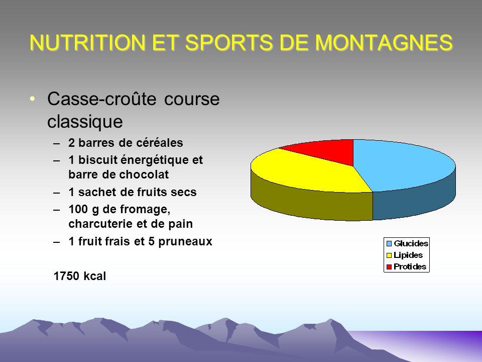 NUTRITION ET SPORTS DE MONTAGNES Casse-croûte course classique –2 barres de céréales –1 biscuit énergétique et barre de chocolat –1 sachet de fruits s