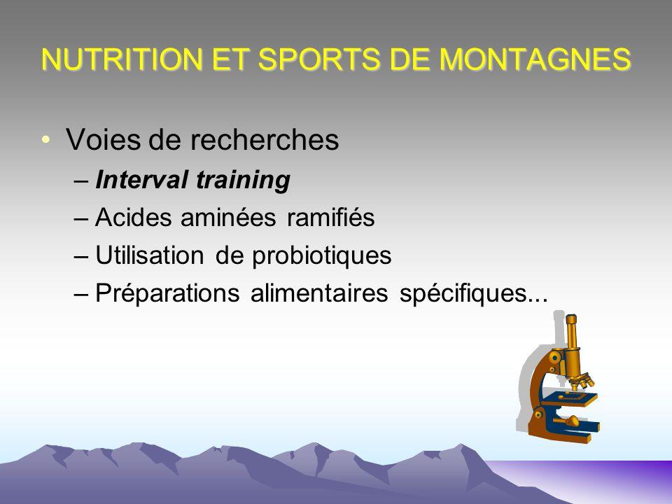 NUTRITION ET SPORTS DE MONTAGNES Voies de recherches –Interval training –Acides aminées ramifiés –Utilisation de probiotiques –Préparations alimentair