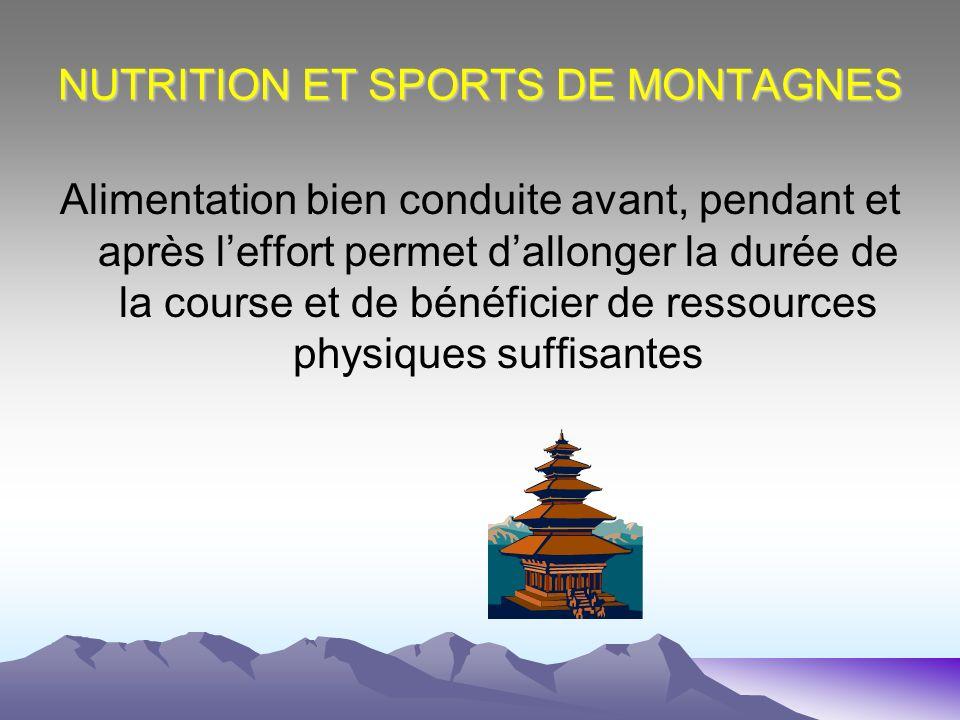 NUTRITION ET SPORTS DE MONTAGNES Alimentation bien conduite avant, pendant et après leffort permet dallonger la durée de la course et de bénéficier de