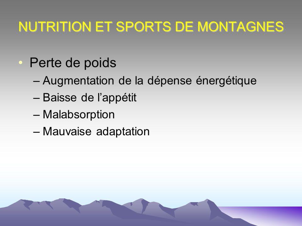 NUTRITION ET SPORTS DE MONTAGNES Perte de poids –Augmentation de la dépense énergétique –Baisse de lappétit –Malabsorption –Mauvaise adaptation