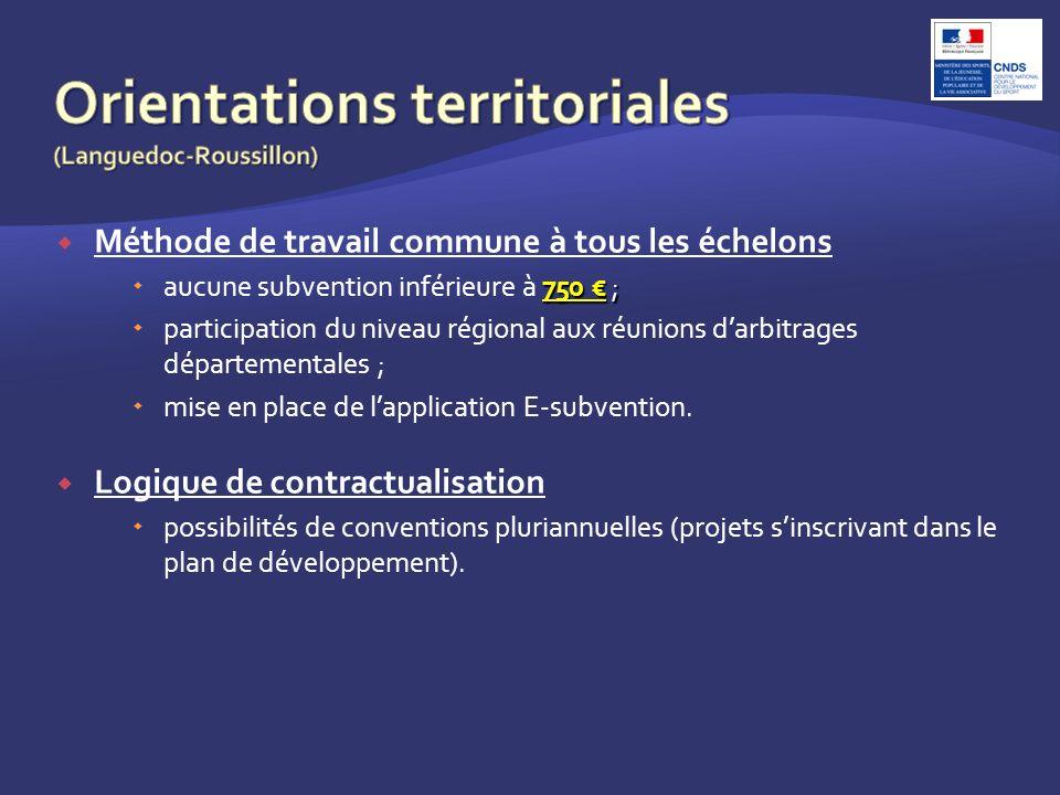 Méthode de travail commune à tous les échelons 750 ; aucune subvention inférieure à 750 ; participation du niveau régional aux réunions darbitrages départementales ; mise en place de lapplication E-subvention.