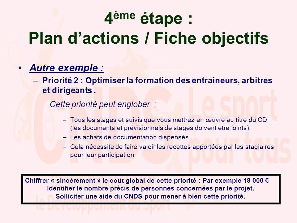 4 ème étape : Plan dactions / Fiche objectifs Autre exemple : –Priorité 2 : Optimiser la formation des entraîneurs, arbitres et dirigeants.