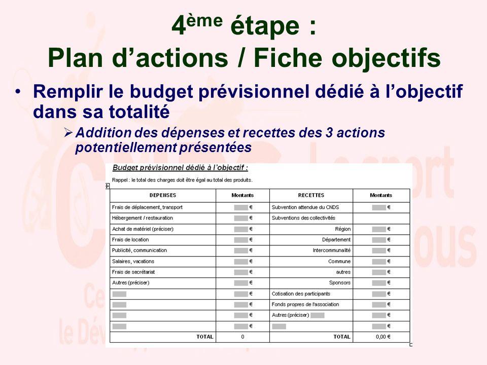4 ème étape : Plan dactions / Fiche objectifs Remplir le budget prévisionnel dédié à lobjectif dans sa totalité Addition des dépenses et recettes des