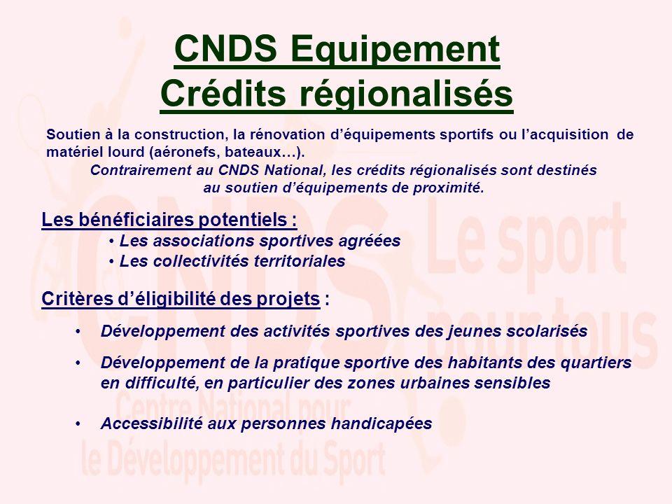 CNDS Equipement Crédits régionalisés Soutien à la construction, la rénovation déquipements sportifs ou lacquisition de matériel lourd (aéronefs, bateaux…).