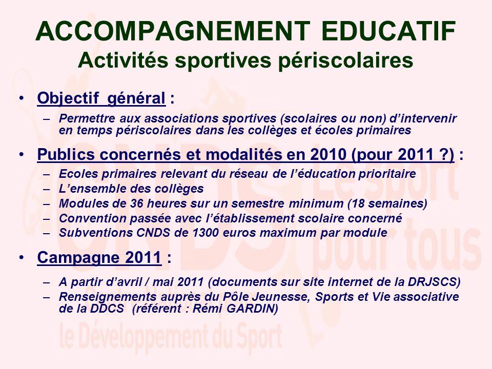 ACCOMPAGNEMENT EDUCATIF Activités sportives périscolaires Objectif général : –Permettre aux associations sportives (scolaires ou non) dintervenir en t