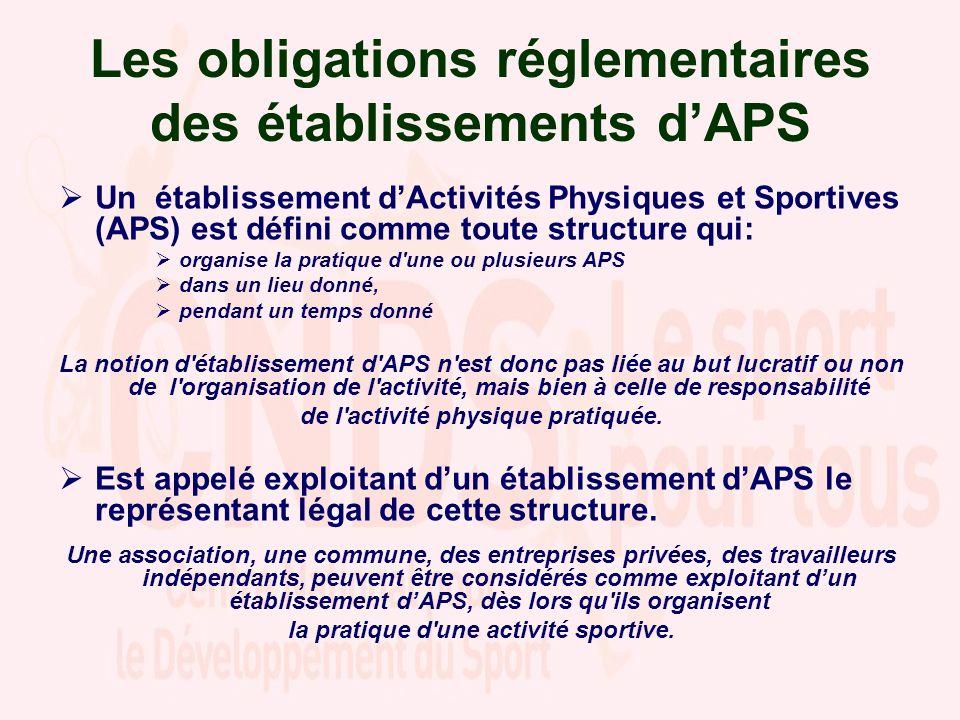 Un établissement dActivités Physiques et Sportives (APS) est défini comme toute structure qui: organise la pratique d une ou plusieurs APS dans un lieu donné, pendant un temps donné La notion d établissement d APS n est donc pas liée au but lucratif ou non de l organisation de l activité, mais bien à celle de responsabilité de l activité physique pratiquée.