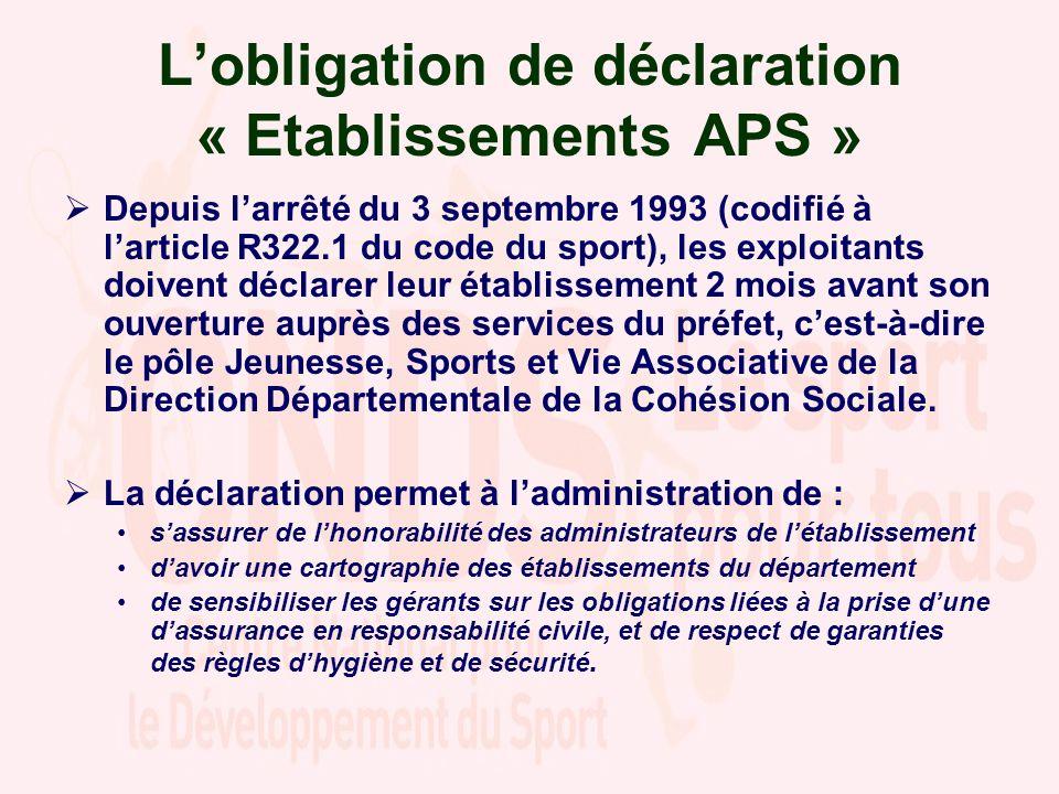 Lobligation de déclaration « Etablissements APS » Depuis larrêté du 3 septembre 1993 (codifié à larticle R322.1 du code du sport), les exploitants doi