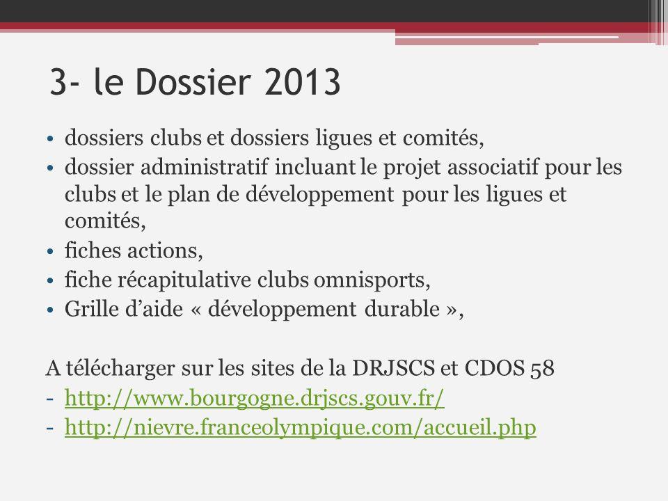 3- le Dossier 2013 dossiers clubs et dossiers ligues et comités, dossier administratif incluant le projet associatif pour les clubs et le plan de déve