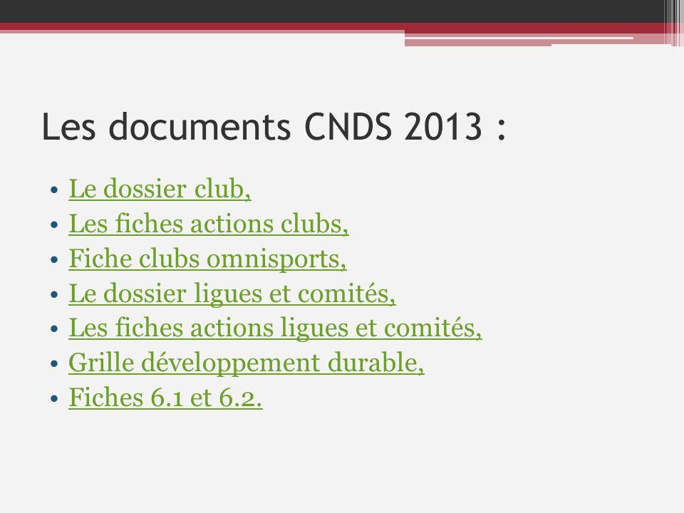 Les documents CNDS 2013 : Le dossier club, Les fiches actions clubs, Fiche clubs omnisports, Le dossier ligues et comités, Les fiches actions ligues e