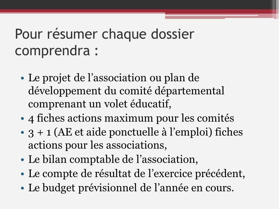 Pour résumer chaque dossier comprendra : Le projet de lassociation ou plan de développement du comité départemental comprenant un volet éducatif, 4 fi
